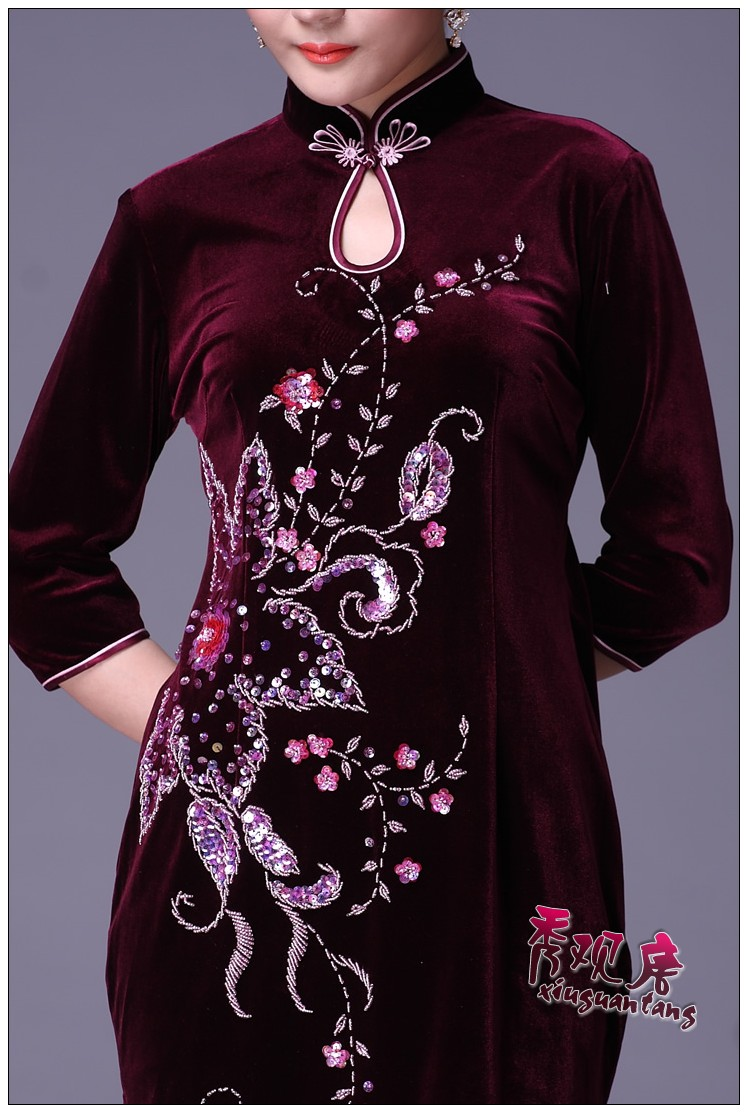 Show concept Tang Elegant Half Sleeve Knee Length Beading Zipper Women Cheongsam Dress