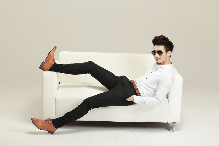 Su Jin Striped Solid Cotton Slim Soft Breathable Comfortable Casual Mens Pants