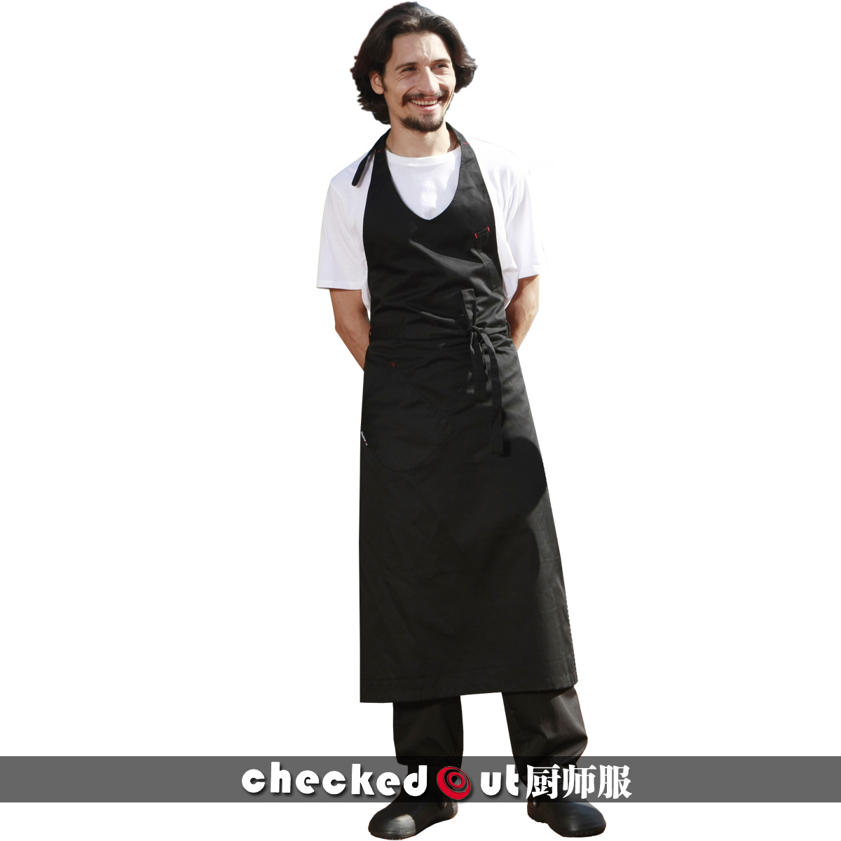 Checked Kitchen bar coffee shop service Korean fashion creative products work apron uniform package mail