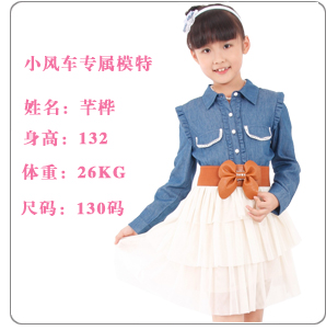 Baoyeah Cute Princess girls denim shirt wood ear child shirt kids 2013 spring