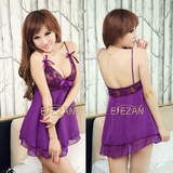 Night fire sexy purple lace lingerie women pajamas chest a transparent skirt suit Temptation