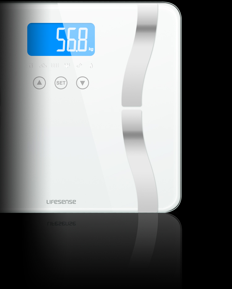 Life Sense Electronic Blu-ray LCD Touch Screen Accurate Health Body Fat Scale