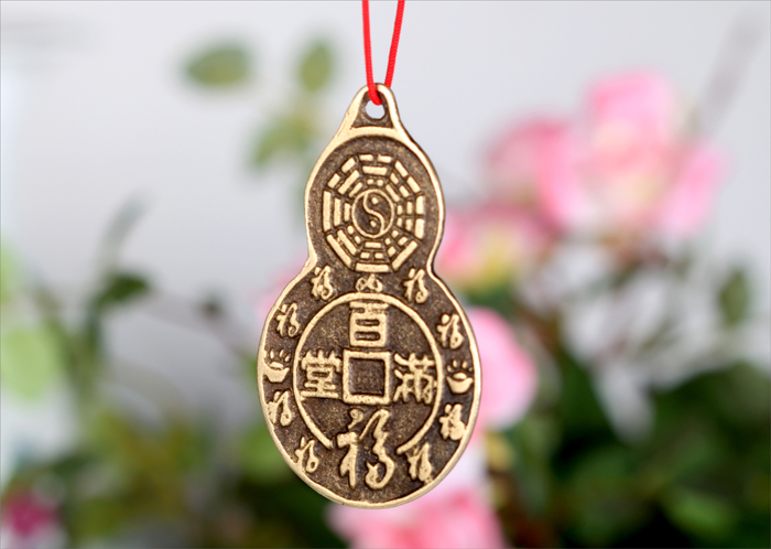 The pure copper gourd-type coins town house pendant