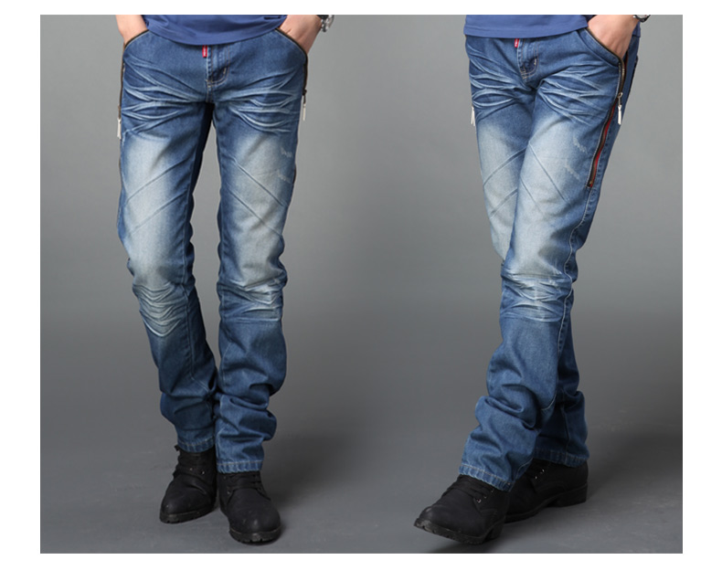 Sunshine handsome Autumn new wash express slim casual fashion for men's jeans waist denim pants in Korean ygss