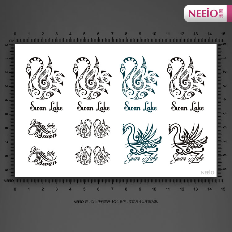 NEEIO Swan wizard tattoo stickers waterproof for female models 5pcs