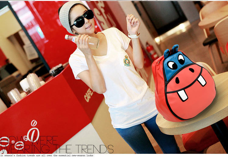 QQT 2013 spring new Hippo package cartoon lovely cute Korean wave leisure students ' school bags shoulder bags backpacks handbags bags