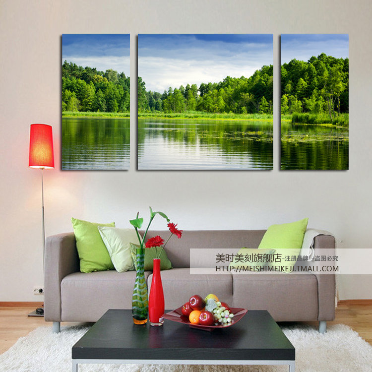 Meishimeike America when America carved forest lakes landscape modern living room decorative wall hanging frameless painting office teahouse triple