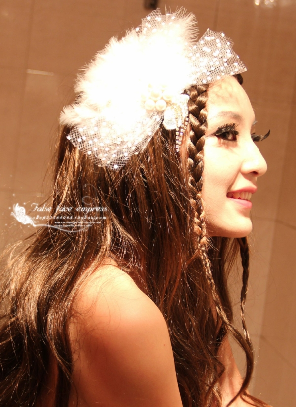 White Lace Yarn Feather Bridal Wedding Fascinators