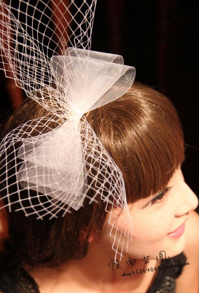 Mask Queen Lovely Yarn Bow Bridal Wedding Headbands