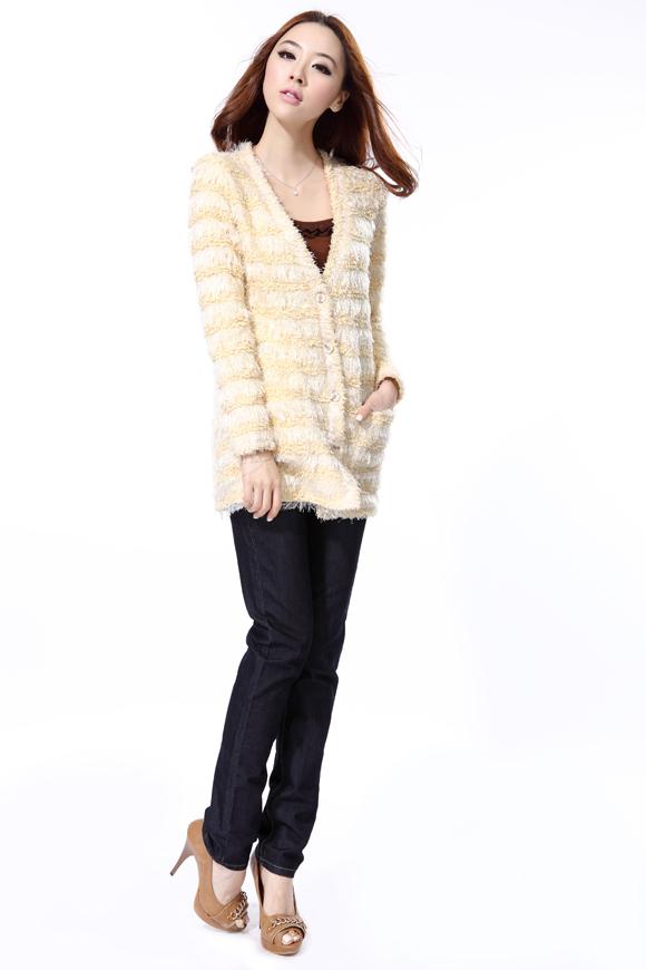 漫凝仙子O.SA2011秋冬装新款时尚流苏中长款开衫针织衫