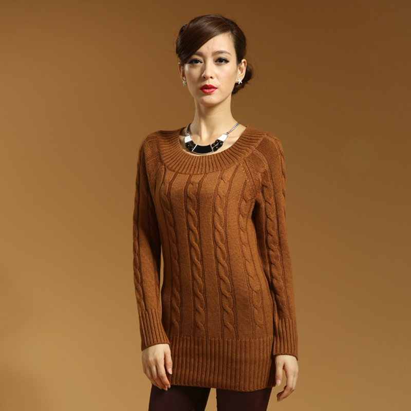 Свитер женский Новые взрывы для осень/зима женские длинные толстые шеи кашемировый свитер мода цветок дна рубашки свитер витой