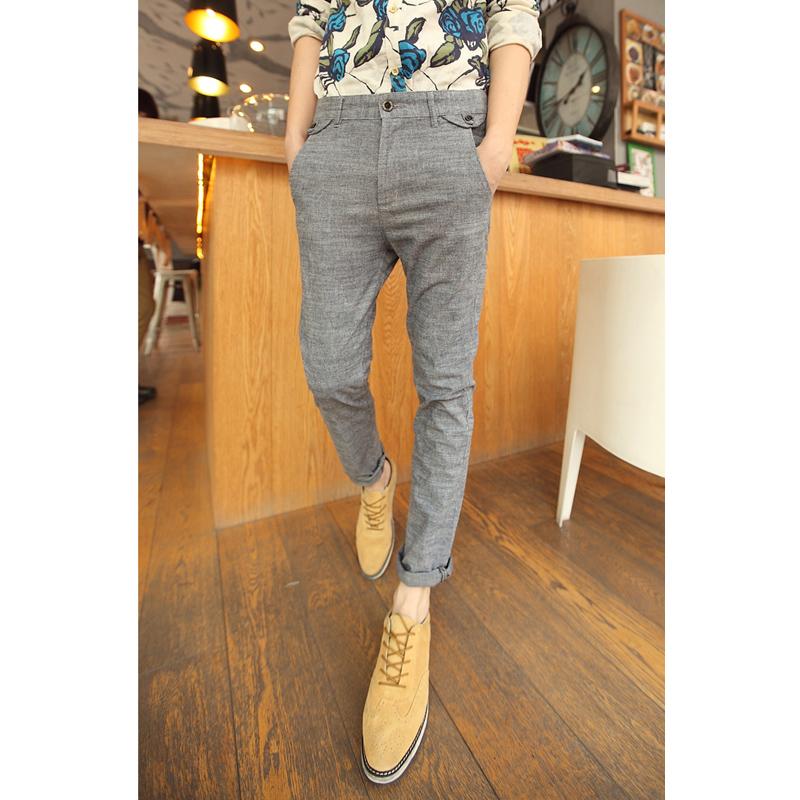 Повседневные брюки 2014 Весна новый лес Полумесяца город мальчик повседневные брюки кнопку Дизайн slim Джокер случайные длинные штаны Мужчины