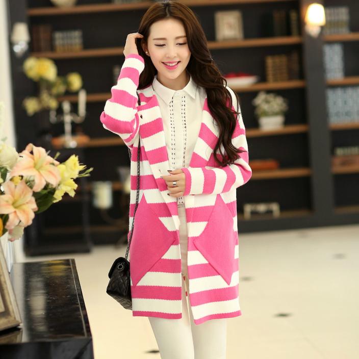 Свитер женский 2014 hitz крупных женщин размер свободный свитер пальто корейской версии полосы в длинный свитер женский кардиган