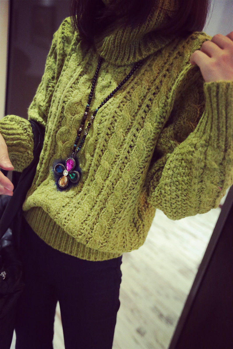 Свитер женский Осень/зима 2014 женщин новый поворот утолщенные базовый свитер длинный рукав свободные тепловой прилив водолазка