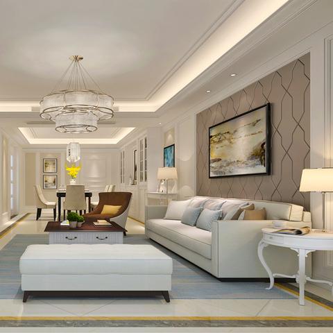 现代简欧 美式室内装修设计三居室家装设计师效果图施工服务全国