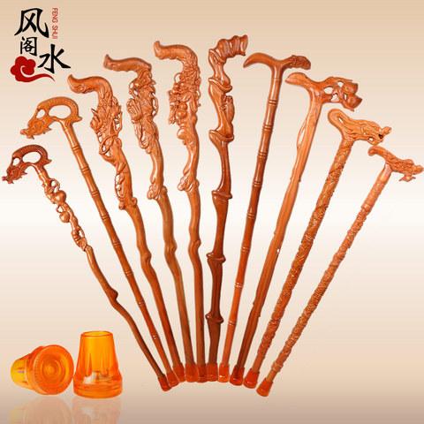桃木龙头拐杖拐棍手杖实木雕质老人杖助行器祝寿礼品送礼盒防滑垫
