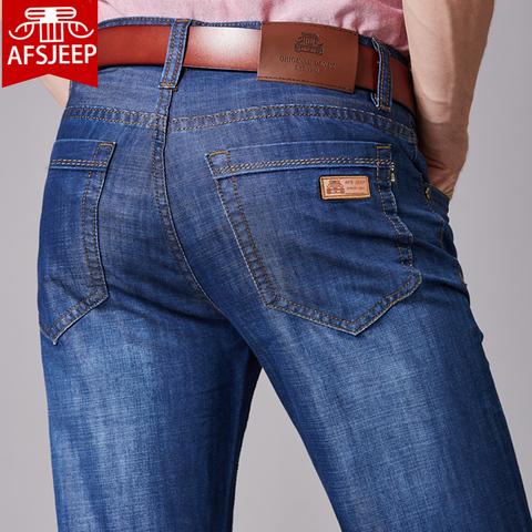 战地吉普牛仔裤男宽松直筒秋季厚款加绒中年薄款裤子男士秋冬款
