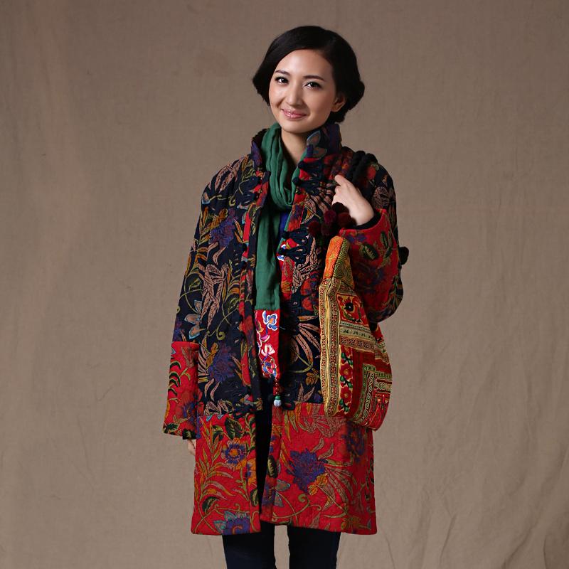 天天特卖桃花盛开民族风女装棉衣女中长款棉服印花女棉麻中式外套棉袄冬装
