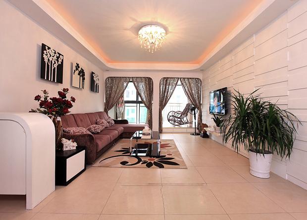 135平3室现代三口之家!走廊异型衣帽间