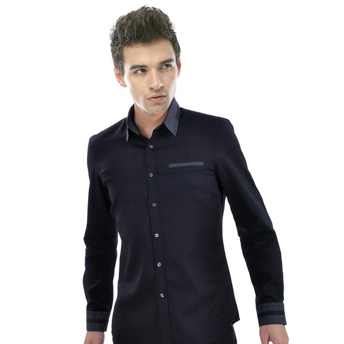 尚虎时尚休闲净黑色灰领男士长袖衬衫0018